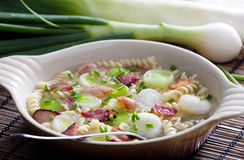 Thick leek soup. Still life of thick leek soup Stock Images