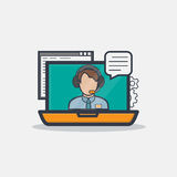 Thick line call center notebook. Thick and thin lines concept of man with headseton on notebook display talking in online chat, representing online support Royalty Free Stock Photography