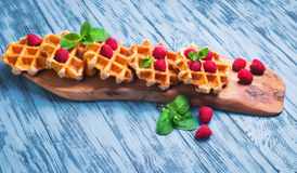 Thick lush Belgian waffles Royalty Free Stock Images