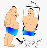The Thick man. Beside brokenned mirrors Stock Photography