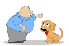 Thick man breaks dog stock illustration