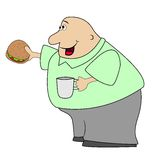 Thick man with open sandwich and mug in hands. Vector illustration Royalty Free Stock Photos