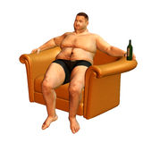 A thick man sitting in the armchair. 3d rendering a thick man, who relaxed in the armchair as illustration Royalty Free Stock Photos