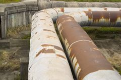 Thick metal pipeline Stock Photos