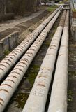Thick metal pipeline Stock Images