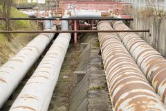 Thick metal pipeline Stock Photography