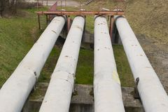Thick metal pipeline Royalty Free Stock Photography