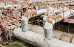 Thick metal pipeline Royalty Free Stock Photos