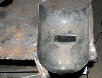 Thick metal welding mask for protecting the eyes Stock Images