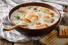 Thick Milky Chowder Soup Close-up. Horizontal Stock Images