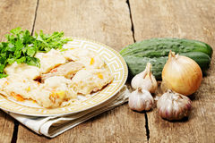 Thick noodles and fresh vegetables Stock Photo