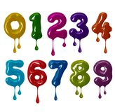 Thick numbers made of colorful glaze with falling drops in high resolution royalty free stock image