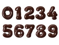 Thick numbers made of melted chocolate in high resolution royalty free stock photo
