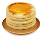 Thick pancakes with honey on plate. Stack of pancakes. Isolated on white vector cartoon illustration Royalty Free Stock Photo