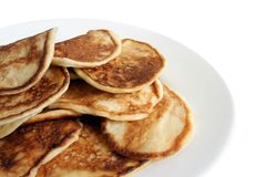 Thick pancakes on plate Stock Images