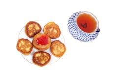 Thick pancakes and tea Royalty Free Stock Photos