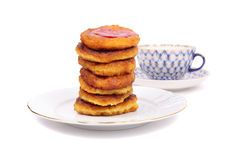 Thick pancakes and tea Stock Image
