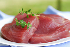 Thick piece of raw tuna Stock Photo