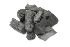 Thick pieces of black charcoal Royalty Free Stock Images