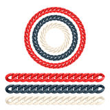 Thick plastic chains brushes set. Colorful seamless borders Royalty Free Stock Photo