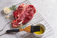 Thick raw T-bone steak for grill Royalty Free Stock Photography