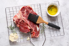 Thick raw T-bone steak for grill Royalty Free Stock Images