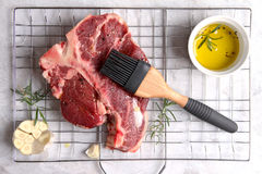 Thick raw T-bone steak for grill Royalty Free Stock Photos