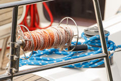 Thick rope on deck of yacht, detail of yachting Royalty Free Stock Photography