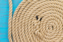 Thick rope in wound up in spiral shape Royalty Free Stock Photo
