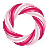 Thick round swirl candy cane background border. Hard candy frame. Stock Images