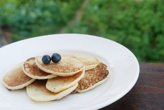 Thick russian pancakes Royalty Free Stock Photos