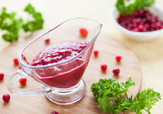 Thick sauce made ​​from cranberries Royalty Free Stock Image