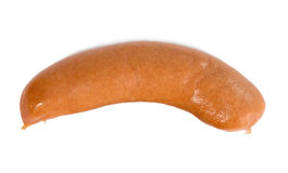 Thick sausage from meat. On white isolated background stock photos