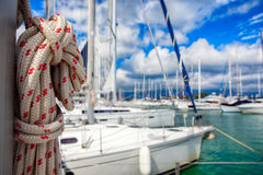Thick ship vessel rigging rope on a boat Royalty Free Stock Photography