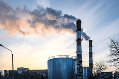 Thick smoke belching from factory chimneys. The thick smoke belching from factory chimneys Royalty Free Stock Image