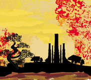 Thick smoke coming out of factory chimney Royalty Free Stock Photos