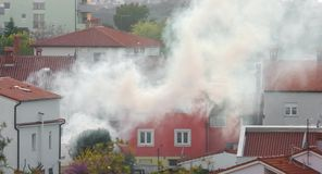 Thick smoke engulfs a home BMPC4K stock video