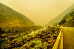 Thick Smoke in the Fraser Canyon in the Province of British Columbia, Canada royalty free stock photos