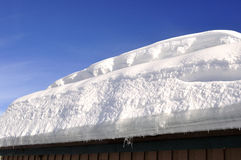 Thick snow on the roof Royalty Free Stock Photo