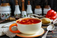 Thick soup goulash in a ceramic bowl. Royalty Free Stock Image