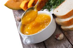 Thick soup with pumpkin and sesame seeds Stock Photo