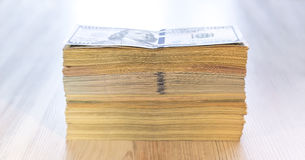 Thick stack of US cash Royalty Free Stock Photo