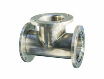 Thick stainless steel tee flanges for bolting. Royalty Free Stock Photos