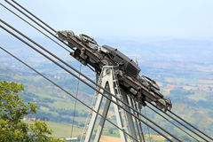 Thick steel cables and pulleys for the cableway Stock Photo