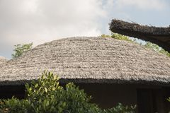 Thick straw thatched roof. Traditional architecture construction Stock Image