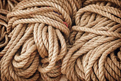 Thick strong rope on the open market Stock Photo