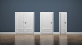 Thick and thin doors. Enter and Exit. Business concept Royalty Free Stock Photo