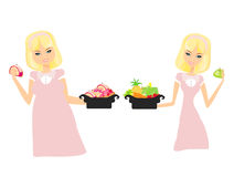 Thick and thin girls. Isolated illustration of thick and thin girls Royalty Free Stock Image