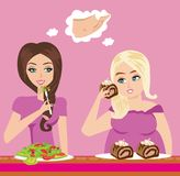Thick and thin girls in restaurant. Illustration of thick and thin girls in restaurant Royalty Free Stock Photo