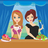 Thick and thin girls in restaurant. Illustration of thick and thin girls in restaurant Stock Photos